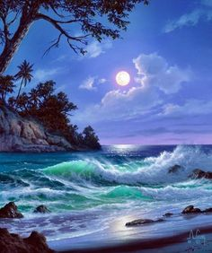That's how you airbrush, nice job. That's how you airbrush, nice job. Fantasy Landscape, Landscape Art, Landscape Paintings, Watercolor Landscape, Landscape Architecture, Ocean Scenes, Beautiful Moon, Seascape Paintings, Indian Paintings