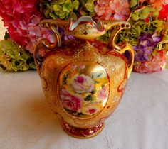 Antique Nippon Porcelain Hand Painted Vase ~ Roses Heavy Gold Moriage Beading #Nippon
