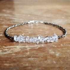 Herkimer Diamond Bracelet Pyrite Bracelet Beaded by TwoFeathersNY