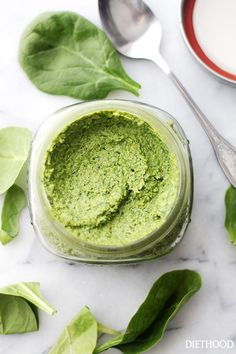 Spinach Pesto - Made with just a handful of everyday ingredients including fresh spinach and parmesan cheese, this healthy sauce goes great with pasta, chicken, veggies, and much more! Get the recipe on diethood.com