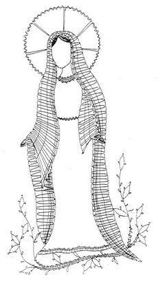 Chevrons Au Crochet, Crochet Motif, Madonna, Bruges Lace, Bobbin Lacemaking, Lace Art, Bobbin Lace Patterns, Bible Coloring Pages, Point Lace