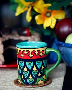 "Teal, Green & Red Talavera Style Mug/Coffee Cup -- ""Royal Peacock"" Mexican Ceramics, Talavera Pottery, Cute Cups, Mexican Designs, Mexican Art, Pottery Painting, Teal Green, Tea Mugs, Coffee Cups"