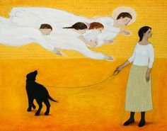 Brian Kershisnik - only the dog sees the angels :)