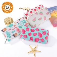 BONAMIE New High Quality Modern Women Leather Clutch Wallet Brand Printing Love Strawberry Watermelon Flamingo Purse Card Holder