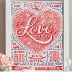 I love this! Cross stitch wedding sampler. Anniversary
