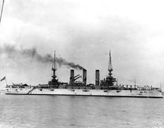 """August 20, 1907:  USS Vermont BB-20, date and location unknown.  Nicknamed the """"Great White Fleet"""" because of the white and spar color of their paint schemes, the 16 pre-dreadnought battleships, including the Vermont, sailed from Hampton Roads on 16 December, standing out to sea under the gaze of President Theodore Roosevelt who had dispatched the ships, around the globe as a dramatic gesture toward Japan, a growing power on the world stage."""