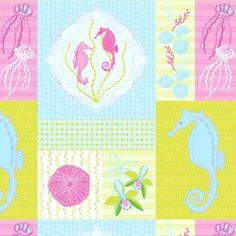 Mo Bedell - Full Moon Lagoon - Patchwork in Light Pink Shower Curtain???
