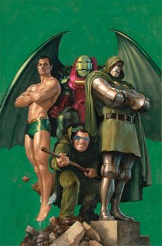 The Sub-Mariner, Annihilus, Dr. Doom, and Mole Man by Paolo Rivera