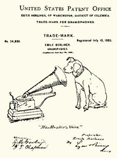 United Stated Patent Office Trade Mark for Gramophone &  Records.  Date is not clearly visible perhaps its July 10, 1900