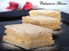 Ingrediente: Pentru foi: – 1 ou – 3 linguri zahar – 80 g unt – un praf de sare – 8 linguri cu lapte – 300 g faina alba – 8 g amoniu pentru prajituri Pentru crema: – 750 ml lapte – 5 linguri cu amidon (puteti inlocui amidonul cu … Unt, Cornbread, Vanilla Cake, Deserts, Ethnic Recipes, Food, Millet Bread, Desserts, Meals