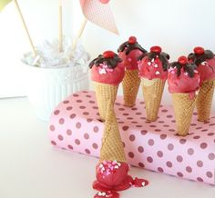 Whimsically fun - right down to the spilled one! - Ice Cream Cone Cake Pops. #food #ice #cream #cone #cake #pops #dessert #summer #birthday