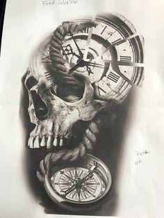 Clock Tattoo Design, Skull Tattoo Design, Skull Tattoos, Tattoo Designs, Trippy Drawings, Tattoo Drawings, Chicano Style Tattoo, Luna Tattoo, Engine Tattoo