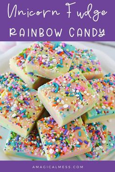 Rainbow candy fudge to make for unicorn fans. This fudge recipe is quick and easy to make at home. Homemade unicorn fudge i sure to bring out the smiles. Galaxy Desserts, Rainbow Desserts, Rainbow Treats, Rainbow Candy, Rainbow Food, Fun Desserts, Delicious Desserts, Fudge Recipes, Best Dessert Recipes