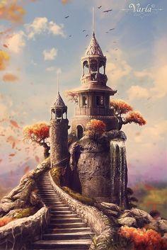 Your cheat sheet to understanding the chart Castle – Digitale Fantasy-Kunst von VarLa-art Fantasy Kunst, Fantasy City, World Of Fantasy, Fantasy Castle, Fantasy Places, Digital Art Illustration, Pintura Graffiti, Fantasy Setting, Fantasy Landscape