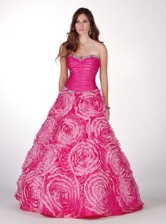 Vestido de quince rosa con flores - Fifteen dress in pink with flowers