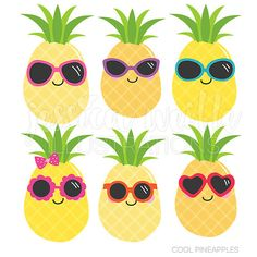 Cool Pineapples Cute Digital Clipart Commercial by JWIllustrations More