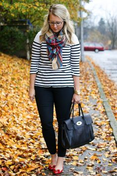 stripes + plaid scarf + red shoes | franish