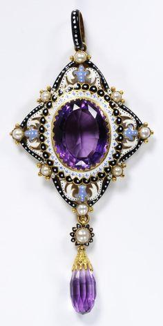 A Renaissance Revival gold, enamel, amethyst and pearl pendant, designed by Pasquale Novissimo for Carlo Giuliano, circa 1880. 9.5 x 4.5cm. #Novissimo #Giuliano #RenaissanceRevival #pendant #antique #Victorian