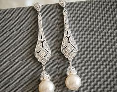 GRACE Victorian Style Bridal Earrings White or by GlamorousBijoux