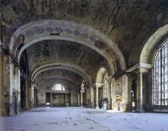 The waiting room of Detroit's once-grand train depot, now abandoned Michigan Central Station, long after the last train rolled out in 1988. A decision was made in 2009 to tear the building down.