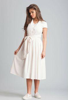 Ivory Linen MIDI Dress.Retro Style Dress from the