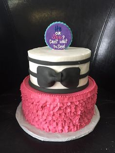Gender reveal two tier cake, all natural buttercream