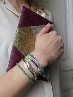 """Bracelet """"brésilien"""" multi-liens/vert."""