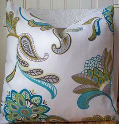 Decorative Pillow - Aqua Teal Paisley Gold Citrine - $35