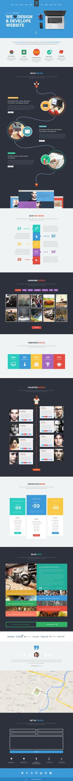 코코 - Behance에 플랫 한 페이지 웹 사이트 템플릿
