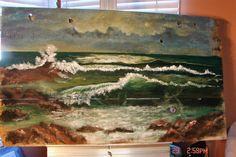 Ocean Painting Seascape on Reclaimed Wood Large Beach Cottage Decor Nautical Pallet Wall Art, Wood Wall Art, Painting On Wood, Painting & Drawing, Painting Tips, Barn Paintings, Canvas Paintings, Beach Cottage Decor, Beach Cottages