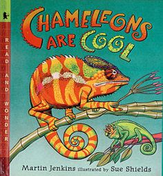 I can't believe I haven't posted this book yet! It's been a favorite of mine for years! Chameleons make great subject matter for art projects in any grade and the bright illustrations and easy to read text of the book 'Chameleons Are Cool' make learning about them all the more interesting for children.
