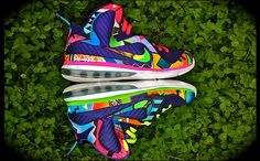 "NIKE LEBRON 9 ""WHAT THE '90S"" CUSTOM. These shoes are so crazy they are cool...."