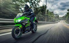 Descargar fondos de pantalla Kawasaki Ninja 400, 4k, 2018 bicicletas, motos deportivas, jinete, Kawasaki