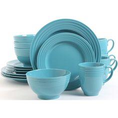 STANZ HOME TURQUOISE BLUE 16 PIECE DINNERWARE SET