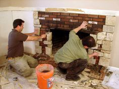 Den Update Adding A Mantle To Corner Brick Fireplace Bing Images