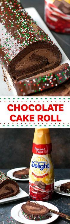 Chocolate Cake Roll With Chocolate Mascarpone Whipped Cream Schokoladenkuchenrolle mit Schokoladen-Mascarpone-Schlagsahne-Rezept via Cooking LSL Walmart Chocolate Roll Cake, Chocolate Desserts, Fun Desserts, Delicious Desserts, Chocolate Cream, Yummy Food, Frosting Recipes, Cupcake Recipes, Dessert Recipes