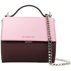 Givenchy Pandora Box shoulder bag (40,120 MXN) ❤ liked on Polyvore featuring bags, handbags, shoulder bags, pink, genuine leather purse, pink leather purse, chain shoulder bag, pink leather handbags and real leather purses