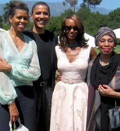 Leontyne Price with Michelle Obama, Barack Obama, Iman  Date unknown