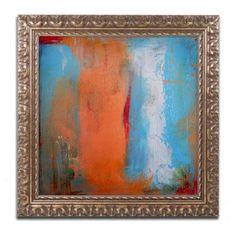 Trademark Fine Art Orange Swatch Canvas Art by Nicole Dietz Gold Ornate Frame, Size: 16 x 16