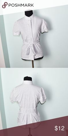Beautiful Navy and White Pinstripe Shirt In excellent condition! Very comfortable, lightweight, and flattering. Buy 3 items and get 1 free plus 15% off your purchase total! Tops Blouses