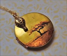 The Hot Air Balloon Charm and the Tree Locket  Vintage by verabel, $40.00  Click for more amazingly crafted lockets