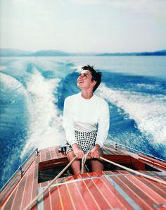 Audrey Hepburn on deck photographed by Hans Gerber, 1954