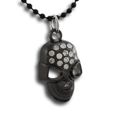 Gunmetal Rhinestone Encrusted Skull Pendant 18 Inch Bead Necklace, Women's, Grey Skull Pendant, Beaded Necklace, Personalized Items, Beads, Grey, Beaded Collar, Beading, Gray, Pearl Necklace