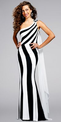 Celebrity Inspired Black and White Prom Gowns by Jovnai