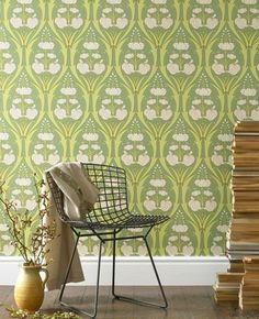 "This wallpaper ""Passion Lily"" by Amy Butler is amazing, very William Morris-esque."