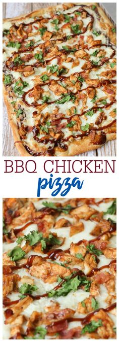 Switch up pizza night with this Homemade BBQ Chicken Pizza Recipe! With barbecue sauce, mozzarella cheese, chicken, bacon, and cilantro, this Barbecue Chicken Pizza will be a new family favorite. Best of all, it's made in less than 20 minutes!