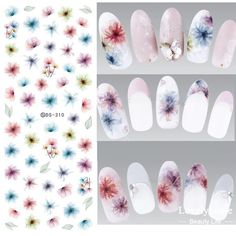 New DS310 Water Transfer Nails Art Sticker Harajuku Elements Colorful Fantacy blurred Flowers Nail Wraps Sticker Manicura Decal