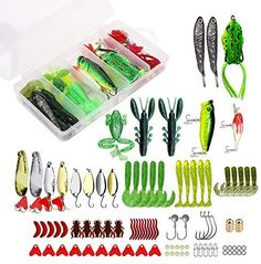 XTON 93Pcs Fishing Lures Kit Set for Bass, Trout, Salmon Including Frog Lures, Plastic Worms, Spinner Bait, Crank Bait, Jigs, Topwater Freshwater and Saltwater Lure with Tackle Box