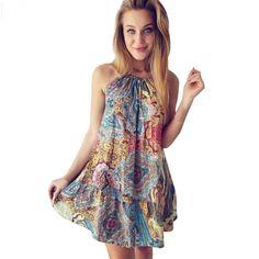 4bfa2a49385 New Summer Sexy Women Bohemian Ocean Wind Print Beach Dress Female Ladies  Floral Casual Mini Dress Fashion
