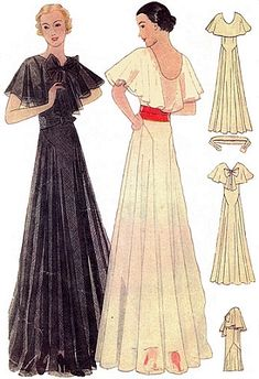 1930s Evening Gown With Capelet